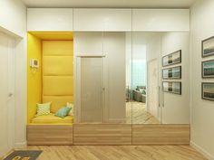 Scandinavian apartment in Comfort Town Kyiv Apartment Entrance, Small Apartment Interior, Apartment Projects, Flur Design, Hall Design, Contemporary Interior Design, Home Interior Design, Wardrobe Room, Hallway Designs