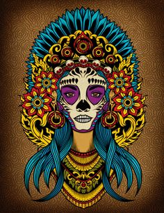Adobe Illustrator tutorial: Create a Death Goddess inspired by Mexicos Day of the Dead - Digital Arts Art And Illustration, Illustration Techniques, Cactus Illustration, Landscape Illustration, Adobe Illustrator Tutorials, Photoshop Illustrator, Memento Mori, Mexican Paintings, Art Paintings