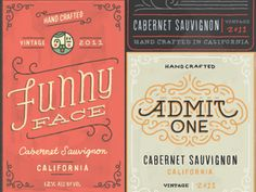 Awesome wine labels by Ryan Feerer  #typography #wine #design