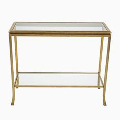Golden Wrought Iron Console by Robert Thibier, for Shop with global insured delivery at Pamono. Wrought Iron Console Table, Feuille D'or, Home And Deco, Transparent, Gold Leaf, Vintage Designs, 1960s, Vintage Items, Restoration