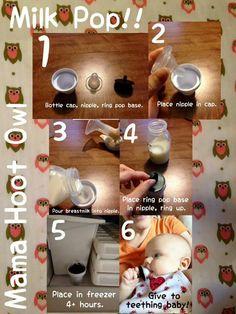 Breastmilk pops for teething baby! :)