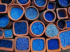 Blue beads in terra cotta pots. Blue beads in terra cotta pots. Im Blue, Deep Blue, Blue And White, Light Blue, Azul Indigo, Bleu Indigo, Bleu Turquoise, Cobalt Blue, Azul Pantone