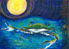 Back Off  Art Print   Blue Crab Beach Decor  by CirclesRoundtheSun