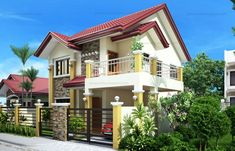 Modern house designs such as has 4 bedrooms, 2 baths and 1 garage stall. The floor plan features of this modern house design are, covered front porch, balcony over garage, walk-in clo… Two Story House Design, 2 Storey House Design, Small House Design, Modern House Design, Best House Plans, Modern House Plans, Modern Houses, Small Houses, Two Storey House Plans
