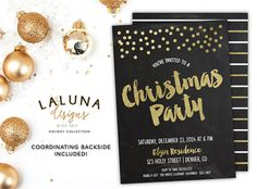 Christmas Party Invitation, Christmas Party Invites, Holiday Party Invites, Christmas Party Printable, Faux Gold Foil, Chalkboard Invite