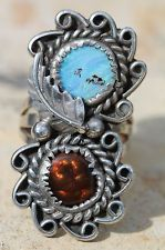 """Vintage Navajo Sterling Silver Ring """"The Twins"""" Boulder Opal Fire Agate Mae Bia"""