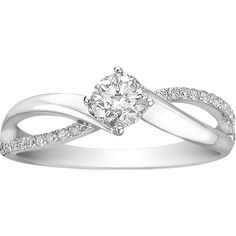 5/8 ct. tw. Canadian Ice Diamond Engagement Ring in 14K White Gold ($2,299) ❤ liked on Polyvore featuring jewelry, rings, white, diamond rings, bridal rings, engraved rings, round engagement rings and white gold band ring