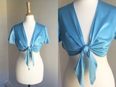 1970s Blue Tie Disco Crop Top  Size X-Small  Small by HappyRedUK