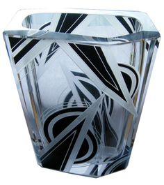 Art Deco Vase - Karl Palda  With all the different spray paints, etching paints, etc. This could be easily imitated on the cheap :-)