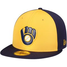 huge selection of 84fa2 b2167 ... promo code for mens milwaukee brewers new era yellow blue 2018 players  weekend low profile 59fifty