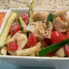 Tortellini Salad: 1 package of tortellini, 1 cucumber, asparagus, cherry tomatoes, 1 yellow pepper. Mix together when the tortellini has cooled and add either creamy italian dressing, balsamic vinaigrette, or italian dressing.