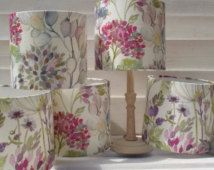Drum lampshade light shade pendant table lamp in Voyage Maison Country Hedgerow linen floral woodland fabric Mauve Living Room, Voyage Fabric, Decorative Lamp Shades, Woodland Fabric, Modern Country Style, Lampshades, Lampshade Ideas, Love Home, Pansies