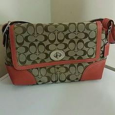 b2d641dca4 Coach purse Authentic Coach purse with coral border Coach Bags Mini Bags