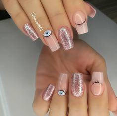 Cute Acrylic Nails, Cute Nails, 21st Birthday Nails, Precious Nails, White Almond Nails, Birthday Nail Designs, Black Nails With Glitter, Tapered Square Nails, Les Nails