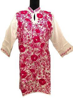 Women 100% Cotton Embroidered Boho Kurti Kurta Tunic Summer Dress Top White XL  | eBay