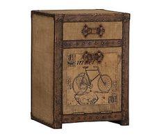 Mesita auxiliar de madera y piel Travel – marrón