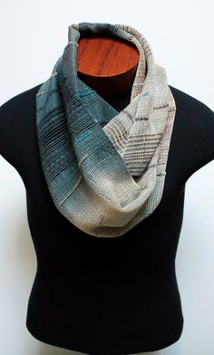 Handwoven Saori Inspired Blue-Gray and Yellow-Beige Infinity Scarf