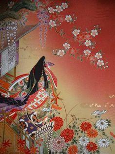 京友禅 正絹 見本布 『御所車に屏風にお姫様』 長尺 袵付き_画像2