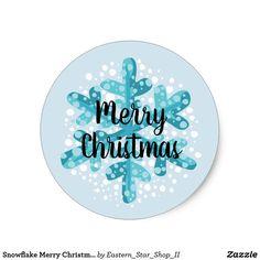 Snowflake Merry Christmas Sticker Style 2