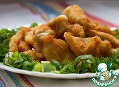 """Курица """"Женева"""" Грудка куриная — 1 кг Крахмал (любой) — 1 ч. л. Сода — 0.5 ч. л. Сок лимонный — 1 ст. л. Соль — по вкусу Мука пшеничная (для панировки) Масло растительное (для жарк"""