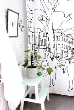 Bathroom | shower curtain and tiles
