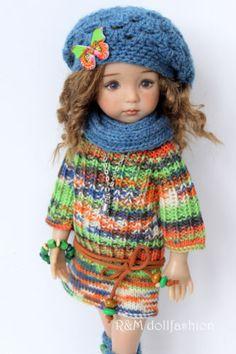 "R&M DOLLFASHION - OOAK SPRING LINE outfit for LITTLE DARLING EFFNER 13"" dolls"