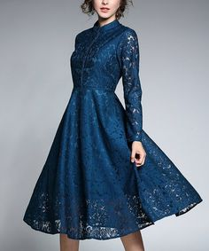 Another great find on #zulily! Blue Lace A-Line Dress #zulilyfinds
