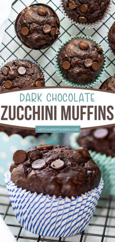 This easy zucchini recipe for dessert, breakfast, or snack should be in your menu! Made with grated zucchini, chocolate morsels, and other wonderful ingredients, this delicious zucchini muffins recipe is erupting with chocolatey goodness! How can you resist? Sweet Breakfast, Breakfast Dessert, Breakfast Ideas, Chocolate Morsels, Chocolate Desserts, Easy Desserts, Dessert Recipes, Dessert Ideas, Brunch Recipes