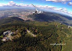 Blick über den Königsstuhl nach Heidelberg und die Rheinebene