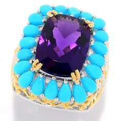ShopHQ Online Home Shopping - Gems en NamibianAmethyst &Sleeping BeautyTurquoise Ring on sale. Make a statement with color and artistry when you don this Gems en Vogue ring! Crafted from sterling silver and palladium, the band blossoms up an Silver Cleaning Solution, Gem Shop, Sleeping Beauty Turquoise, Luxury Jewelry, Gemstone Jewelry, Amethyst, Jewelry Making, Gemstones, Crafts