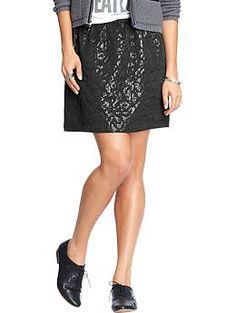 Women's Leopard-Print Jacquard Skirts | Old Navy