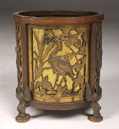 BRONZE & BRASS 4 PANEL JARDINIERE CIRCA 1900