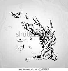 Alter Baum Handform Stock-Vektorgrafik (Lizenzfrei) 243320770 : Ancient tree in the form of a hand Tattoo Outline, Lion Tattoo, Body Art Tattoos, Tatoos, Drawing S, Art Drawings, Spiritual Paintings, Wood Burning Patterns, Desenho Tattoo