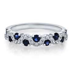 3/4 ct. tw. Diamond & Sapphire Band in 14K Gold