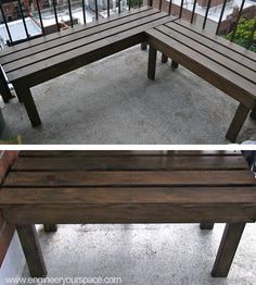 diy outdoor wood bench to eliminate multiple chairs and per bench. Unless want the benches to be seperate, I would cut middle sections at angles to make flush Outside Furniture, Diy Furniture, Diy Wood Bench, Wood Benches, Deck Benches, Garden Benches, Diy Bank, Outdoor Seating, Outdoor Decor