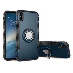 14ae6edcfb iPhone X case with 360 Degree Rotating Ring Holder, Shockproof Slim Fit  Dual Layer Protective Case Cover for iPhone X (Navy blue)
