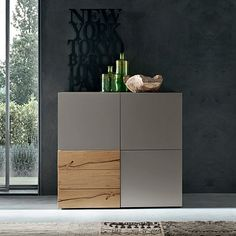 Contemporary design Italian sideboard Geprgia by Orme, The perfect squared shape of the lacquered piece, highlights 3 oak finish drawers, the real spotlight. Simple Furniture, Furniture Decor, Furniture Design, Living Room Furniture, Modern Furniture, Living Room Cupboards, Muebles Home, Italian Living Room, Bedroom Cupboard Designs