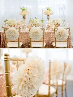 gold and white wedding ideas. whimsical chair poof decor