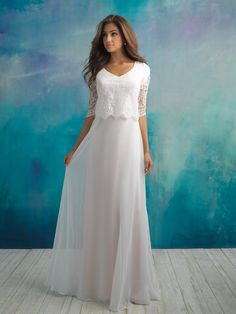Our collection of modest bridal gowns are designed to provide extra coverage without sacrificing style. View our conservative wedding dress styles online today! Rose Gold Wedding Dress, Boho Wedding Dress With Sleeves, Modest Wedding Gowns, Modest Dresses, Designer Wedding Dresses, Bridal Dresses, Prom Dresses, 2 Piece Wedding Dress, Purple Bridesmaid Dresses