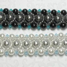 Pearl Crystal Bracelet Pattern. Pattern includes extra section for optional multi color bracelets, and alternate designs.  This pattern is fully illustrated with detailed pictures and step-by-step instructions.