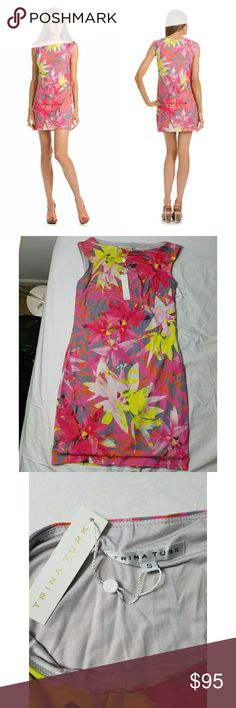 "NWT Trina Turk Felana 2 dress size small Nwt. Trina Turk Felana 2 dress. Size small. Lined. Never worn. Colors: pink, yellow, gray.  Measurements:  Armpit to armpit: approx. 16"" Length: 33"" Trina Turk Dresses"