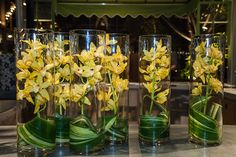 DIY centerpiece with yellow orchids