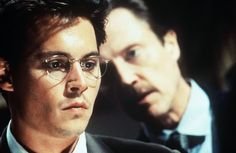 """Nick Of Time"" movie still, 1995.  L to R: Johnny Depp, Christopher Walken."