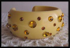 Rhinestone Bracelet Yellow Plastic DEADSTOCk