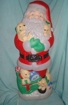 "Vintage 42"" TPI Lighted Christmas Santa Claus w/ Puppies Blow Mold Yard Decor | eBay"