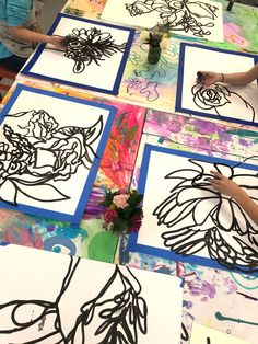 Contour Flower Still Life - Kids Art Classes, Camps, Parties and Events - Small Hands Big Art - Contour Flower Still Life – Small Hand Big Art – Charlotte NC - Kids Art Class, Art For Kids, Classe D'art, Middle School Art Projects, 6th Grade Art, Ecole Art, Art Lessons Elementary, Art Activities, Therapy Activities