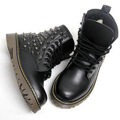 Fancy - Womens Black Studded Spike Zip Combat Boots US6 11 Womans Military Biker Shoes | eBay