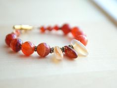 Carnelian Bracelet Orange Gemstone Bracelet Chunky by AlaskaDaisy