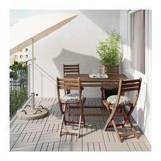 ASKHOLMEN Stôl+4stolič vonk - Askholmen sivo-čierna/Stegön béžová - IKEA