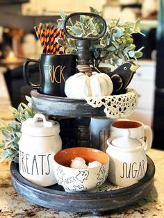 See all of these spooky Halloween tiered trays. I rounded up all of the best Rae Dunn decorated Halloween tiered trays to satisfy everyone's obsession! Fall Home Decor, Autumn Home, Fall Mantle Decor, Autumn Fall, Autumn Leaves, Halloween Kitchen Decor, Farmhouse Halloween, Fall Kitchen Decor, Kitchen Ideas